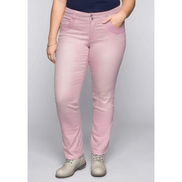 Gerade Colored-Stretch-Jeans LANA mit Spitze, rosé, Gr.44-58