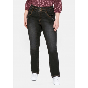 Gerade High-Waist- Jeans mit Dekotapes, black Denim, Gr.40-58