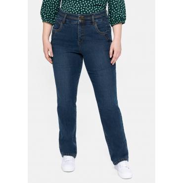 Gerade High-Waist- Jeans mit Dekotapes, dark blue Denim, Gr.40-58