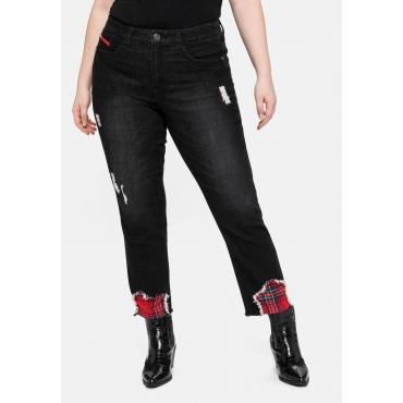 Gerade Jeans in Ankle-Länge, Saum mit Karo-Einsatz, black used Denim, Gr.40-58