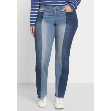 Gerade Jeans mit Kontrast-Patches, blue Denim, Gr.40-58