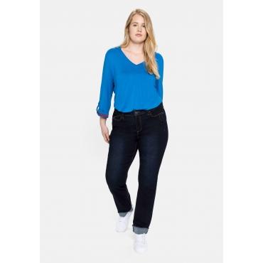 Gerade Jeans mit REPREVE® Polyesterfasern, blue black Denim, Gr.40-58