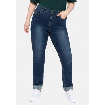 Gerade Jeans mit REPREVE® Polyesterfasern, dark blue Denim, Gr.40-58