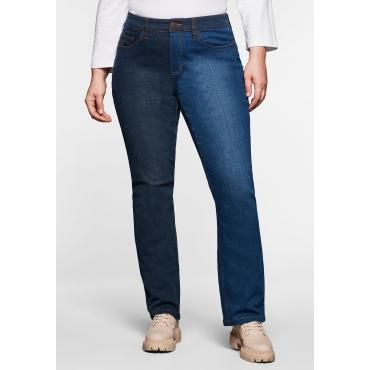 Gerade Multicolor-Jeans mit Kontrastnähten, dark blue Denim, Gr.40-58
