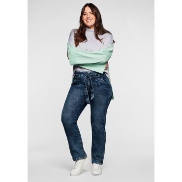 Gerade Paperbag- Jeans im Moonwashed-Look, dark blue Denim, Gr.40-58