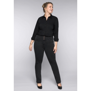 Gerade Power-Stretch-Jeans mit High-Waist-Bund, black Denim, Gr.44-58