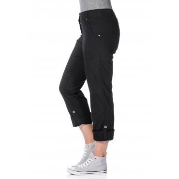 Gerade Stretch-Hose mit Eingrifftaschen, schwarz, Gr.21-104