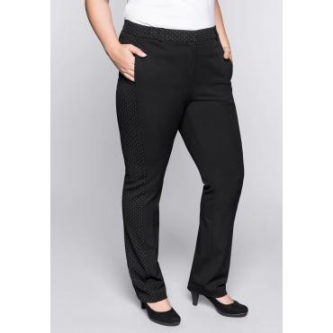 Gerade Stretch-Hose mit Permanent-Bügelfalten, schwarz, Gr.44-58