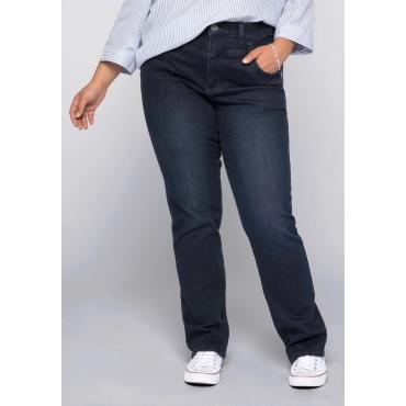 Gerade Stretch-Jeans LANA mit High-Waist-Bund, dark blue Denim, Gr.22-104