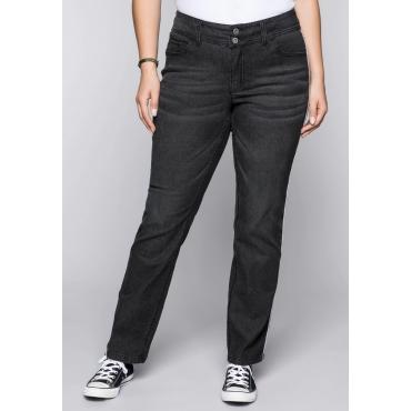 Gerade Stretch-Jeans LANA mit Kontrastpaspel, black Denim, Gr.44-58