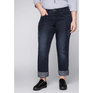 Gerade Stretch-Jeans LANA mit Leo-Druck, dark blue Denim, Gr.44-58