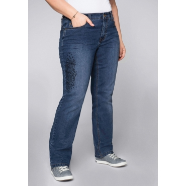 Gerade Stretch-Jeans LANA mit Leodruck, dark blue Denim, Gr.44-58