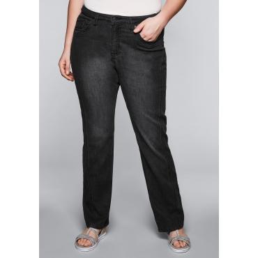 Gerade Stretch-Jeans LANA mit Lyocell, black Denim, Gr.44-58