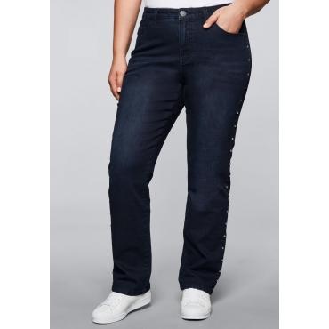 Gerade Stretch-Jeans LANA mit Nieten, blue black Denim, Gr.44-58