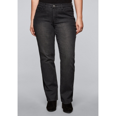 Gerade Stretch-Jeans LANA mit Samtband, black Denim, Gr.44-58