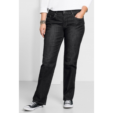 Gerade Stretch-Jeans LANA mit Used-Effekten, black Denim, Gr.24-88