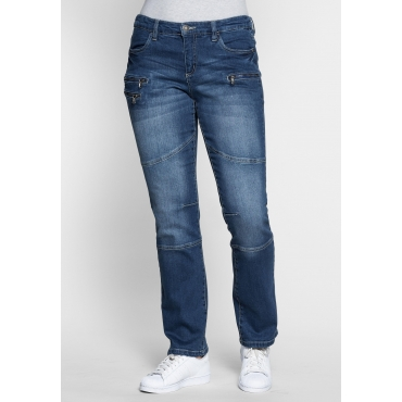 Gerade Stretch-Jeans LANA mit Used-Effekten, blue Denim, Gr.21-104