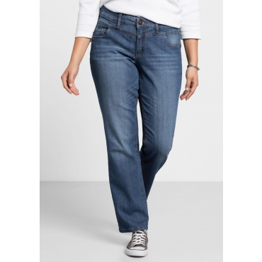 Gerade Stretch-Jeans LANA mit Used-Effekten, blue Denim, Gr.21-116