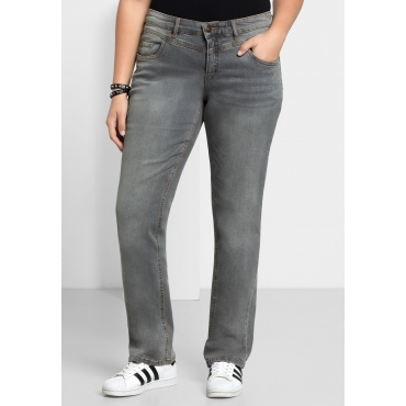Gerade Stretch-Jeans LANA mit Used-Effekten, grey Denim, Gr.21-116