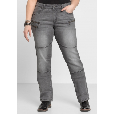 Gerade Stretch-Jeans LANA mit Used-Effekten, grey Denim, Gr.22-104