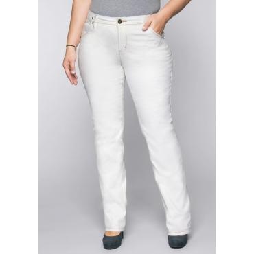 Gerade Stretch-Jeans LANA mit Used-Effekten, white Denim, Gr.22-104