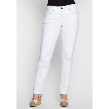 Gerade Stretch-Jeans LANA mit Used-Effekten, white Denim, Gr.40-58