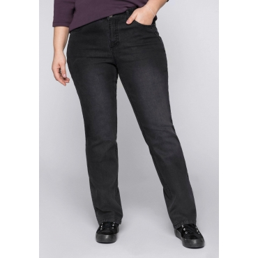 Gerade Stretch-Jeans LANA mit verstellbarem Gummibund, black Denim, Gr.44-58