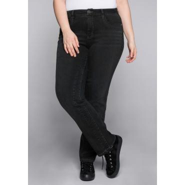 Gerade Stretch-Jeans LANA mit vorverlegter Teilungsnaht, black Denim, Gr.44-58