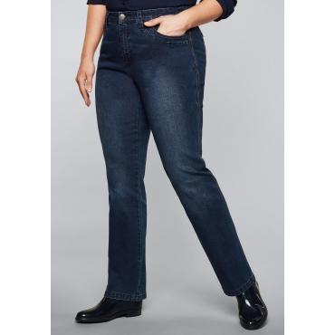 Gerade Stretch-Jeans LANA mit zweifarbigen Nähten, dark blue Denim, Gr.44-58