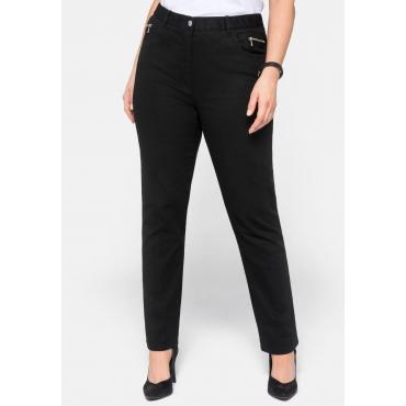 Gerade Stretch-Jeans mit Dehnbund und Zipper, schwarz, Gr.22-96