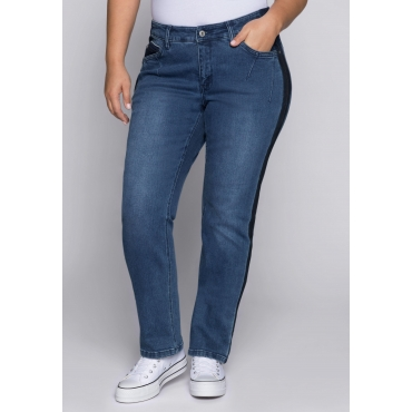 Gerade Stretch-Jeans mit Kontrast-Effekten, blue Denim, Gr.44-58