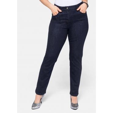 Gerade Stretch-Jeans mit Rundum-Dehnbund, dark blue Denim, Gr.22-54