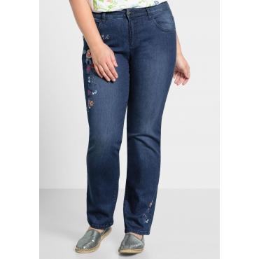 Gerade Stretch-Jeans mit Stickerei, blue Denim, Gr.44-58