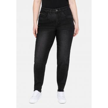 Girlfriend Jeans mit Fransensaum und Catfaces, black Denim, Gr.40-58