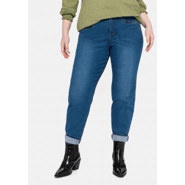 Girlfriend Jeans mit Fransensaum und Catfaces, blue Denim, Gr.40-58