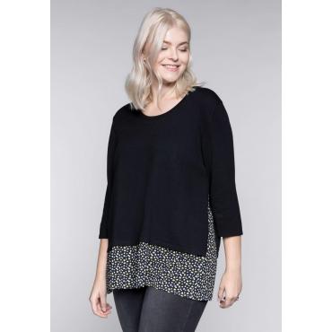 Große Größen: 2-in-1-Pullover mit Bluseneinsatz und 3/4-Ärmeln, schwarz, Gr.44/46-56/58