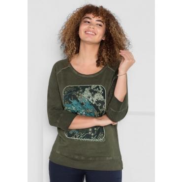 Große Größen: 3/4-Arm-Shirt in Oil-washed-Optik, dunkelkhaki, Gr.40/42-56/58