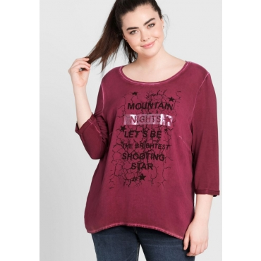 Große Größen: 3/4-Arm-Shirt mit Frontdruck, bordeaux, Gr.44/46-56/58
