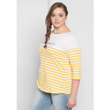 Große Größen: 3/4-Arm-Shirt mit Frontdruck, gelb-weiß, Gr.40/42-56/58