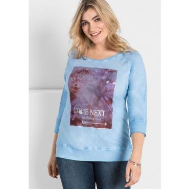 Große Größen: 3/4-Arm-Shirt mit Frontdruck, hellblau, Gr.40/42-56/58