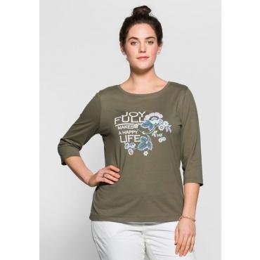Große Größen: 3/4-Arm-Shirt mit Frontdruck, khaki, Gr.40/42-56/58