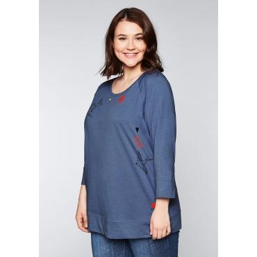 Große Größen: 3/4-Arm-Shirt mit Frontdruck, rauchblau, Gr.44/46-56/58