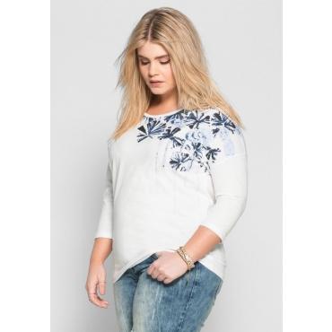 Große Größen: 3/4-Arm-Shirt mit Frontdruck, weiß bedruckt, Gr.40/42-56/58