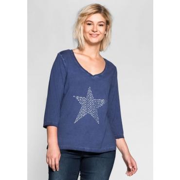 Große Größen: 3/4-Arm-Shirt mit Nietenapplikation, jeansblau, Gr.40/42-56/58