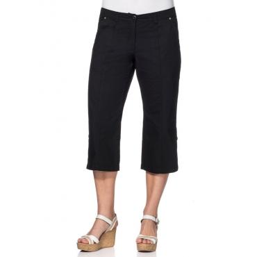 Große Größen: 3/4-lange Hose mit Krempelfunktion, schwarz, Gr.40-58