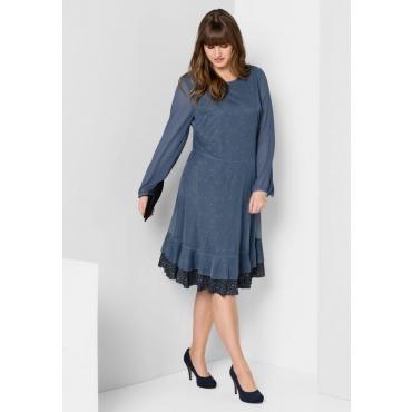 Große Größen: A-Linien-Kleid im Materialmix, rauchblau, Gr.40-58