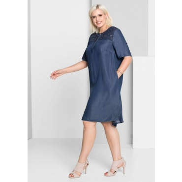 Große Größen: A-Linien-Kleid in Jeans-Optik, blue Denim, Gr.44-58