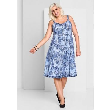 Große Größen: A-Linien-Kleid mit Alloverdruck, blau bedruckt, Gr.44-58