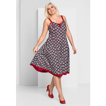 Große Größen: A-Linien-Kleid mit Alloverdruck, dunkelblau bedruckt, Gr.44-58