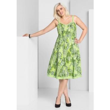 Große Größen: A-Linien-Kleid mit Alloverdruck, grün bedruckt, Gr.44-58